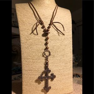 ARTISAN •• LARIAT NECKLACE CROSS COPPER & LEATHER